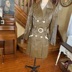 Nanette Lepore Brown Trench Coat Belted 6 Vtg Insp